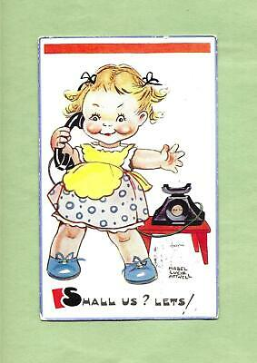 £3.54 • Buy Adorable GIRL On TELEPHONE Colorful A/S MABEL LUCIE ATWELL Vintage Postcard