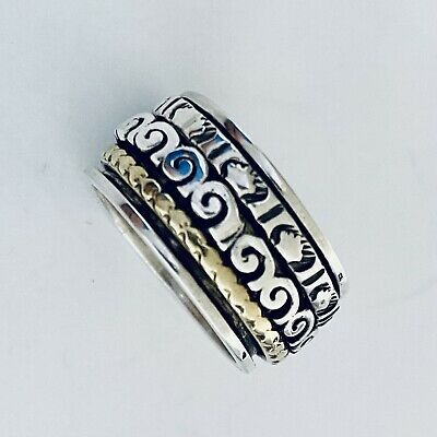 £17.50 • Buy 925 Sterling Silver Spinning Ring Worry Stress Ring 2 Tone Size P 1/2