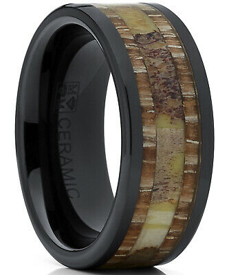 $9.99 • Buy Men's Black Ceramic Ring Wedding Band With Real Antler And Wood Inlay