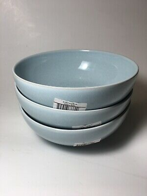 £42.37 • Buy Denby China INTRO STONE PALE BLUE Cereal Bowls - Set Of 3