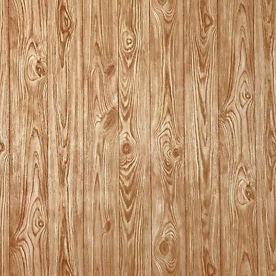 £38.65 • Buy Orange Brown Gold Wood Planks Boards Wallpaper Textured Wall Coverings Rolls 3D