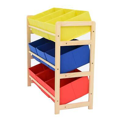 £19.59 • Buy Red/yellow/blue 3 Tier Wood Toy Unit 9 Boxes/Drawers Kids/Childrens Storage