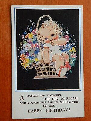 $4.83 • Buy Mabel Lucie Attwell Drawn Postcard #4659. Basket Of Flowers For Happy Birthday