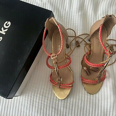 £14.95 • Buy Miss KG Leather Ankle Tie Sandals (Beige And Orange) Size UK 7 EU 41 Pre-Owned