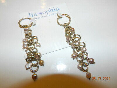 $ CDN35.08 • Buy Lia Sophia Rare Dangle Earrings MSRP $58 Goldtone Freshwater Pearls