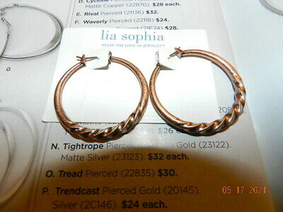 $ CDN18.14 • Buy Lia Sophia Cylcone  Hoop Matte Copper Tone Earrings Snap Closure