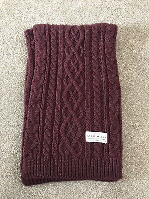 £10 • Buy Ladies Jack Wills Burgundy Cable Knit Wool Mix Scarf Winter NEW