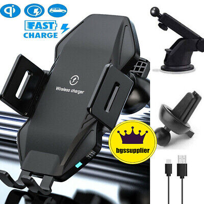 AU26.99 • Buy Qi Fast Wireless Charger Car Mount IPhone Holder Automatic Clamping Smart Sensor