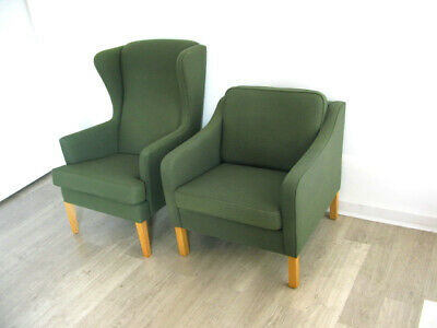 £525 • Buy PAIR DANISH GREEN WOOL HIS & HER ARMCHAIRS LOUNGE CHAIRS Heals Vintage Retro