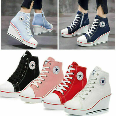£20.99 • Buy Plus Size Women High Top Canvas Shoes Wedge Heel Ankle Lace-Up Platform Sneakers
