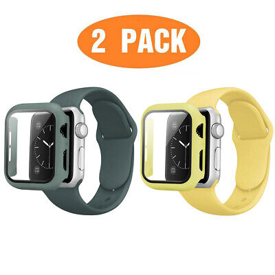 AU14.99 • Buy 2-Pack Silicone IWatch Band Strap + Full Screen Case For Apple Watch Series  MM