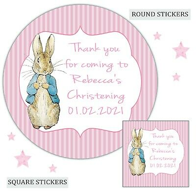 £3.40 • Buy Personalised Christening Stickers Peter Rabbit Girl Labels Party Bag Thank You