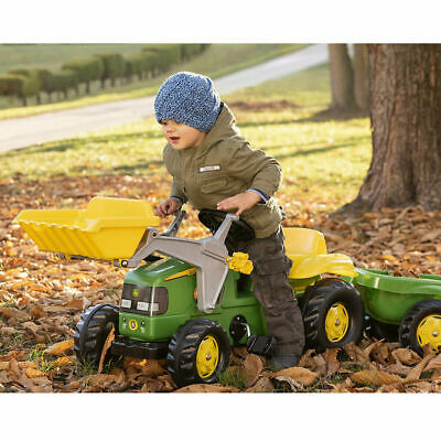 £104.95 • Buy Rolly Toys Kids John Deere Tractor Pedal Ride On With Front Loader And Trailer