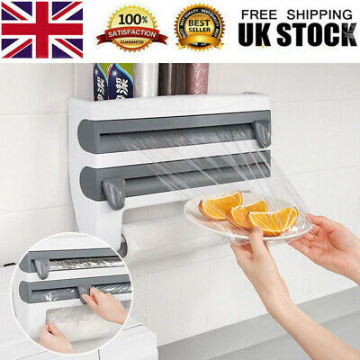 £9.88 • Buy 4 In 1 Kitchen Roll Dispenser Cling Film Tin Foil Wall Mounted Towel Holder Rack
