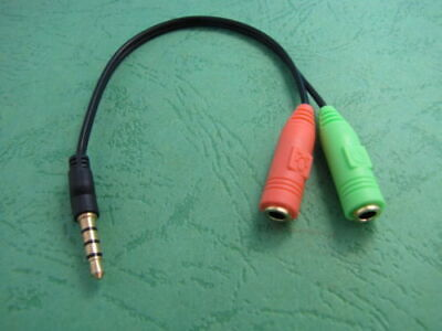 £3.45 • Buy Stereo Headphone Microphone 3.5mm Audio Splitter Cable Adapter Male To 2 Female