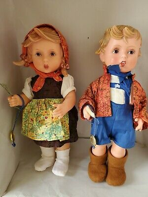 $30 • Buy Goebel M.J. Hummel Boy And Girl Rubber Dolls 11 Inch  Out Of The House