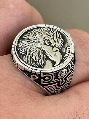$44.98 • Buy Real 925 Sterling Silver Mens Coin Ring USA Eagle American Liberty Dollar 7-13