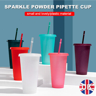 £5.09 • Buy Reusable Flash Powder Shiny Plastic Water Bottle Cold Cup With Lid And Straw