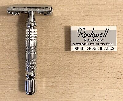 $10.99 • Buy Rockwell Razors R1 Double Edge Safety Razor White Chrome Plated With 5 Blades