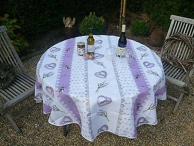 £21.18 • Buy Tablecloth Non-Iron Round 180 CM Lilac White Lavender From France Provence