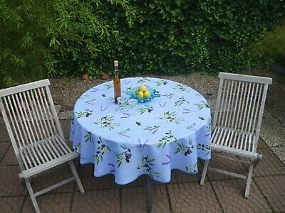 £21.13 • Buy Tablecloth Provence 180 CM Round Olives Blue France Non-Iron Easy-Care