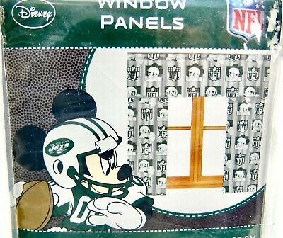 £18.43 • Buy Curtains Fit 36-48  Window Jets Football Disney Mickey Mouse Green White 2pr Lot