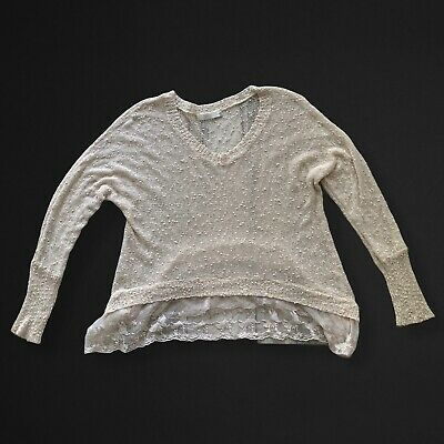 $22 • Buy Millau LF Womens Sweater Sz Small Lace Hem Textured Knit Off White Oatmeal Color