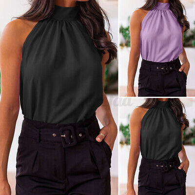 £10.23 • Buy Womens Sexy Halter Neck Vest Tops Summer Casual Strappy Club Party Tank Top 8-26