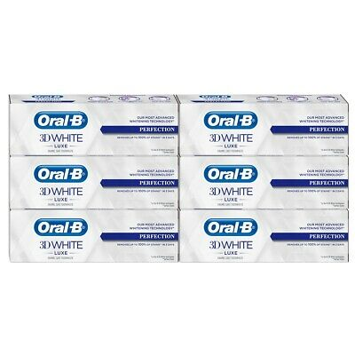 View Details 6x Oral-B 3D White Luxe Perfection Mint Toothpaste Whitening 75ml BBE 09/2020 • 9.99£