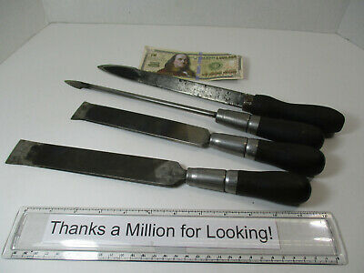 $77.97 • Buy (4) Old Machine Way Scraper Hand Tools, Look Homemade From Files, Hayes, VGC