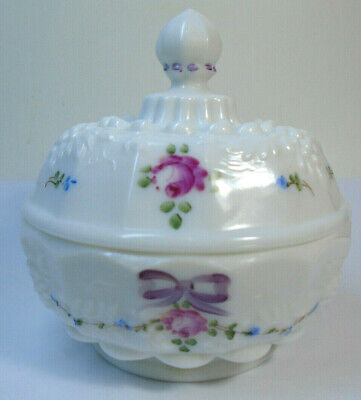 $14.99 • Buy WESTMORELAND Milk Glass Hand Painted Lidded Powder Candy Dish 4.5