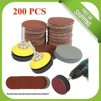 £9.19 • Buy 50MM 200PCS Sanding Discs Pad Kit For Drill Grinder Rotary Tools + Backing Pads