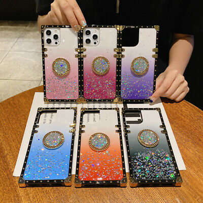 $ CDN7.77 • Buy Glitter Sequins Stand Square Phone Case For Samsung S21 S20 S10 S9 Note 20 Ultra