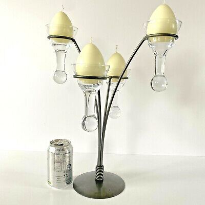 £29.99 • Buy Candle Holder Table Centrepiece Metallic Grey Four Arm Candelabra Art Glass Cups