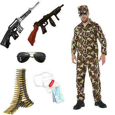 £27.37 • Buy Mens Army Ww2 Military Soldier Uniform Camouflage Costume Fancy Dress Outfit Uk