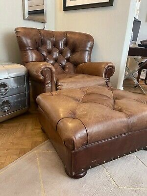 £4950 • Buy Ralph Lauren Writers Chair And Stool. Brown Leather Wingback Armchair Rrp£18,000