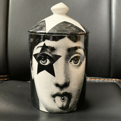 £25.99 • Buy Vintage Ceramic Fornasetti Style Candle Holder Star Eye Tongue Out Storage Jar
