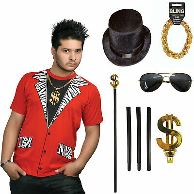 £16.92 • Buy Mens Gangster Pimp Rapper Thug Costume Fancy Dress Accessory Party Outfit Uk