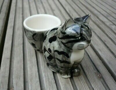 £14.99 • Buy Quail Ceramics Pottery DAVE Black Grey Tabby Cat Figurine With Egg Cup Exc Cond