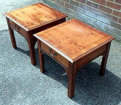 £225 • Buy Pair Georgian Antique Style Yew Wood 1 Drawer Bedside Cabinets Chests Tables