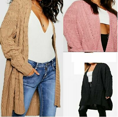 £16.99 • Buy Womens LADIES OVERSIZED BAGGY CHUNKY CABLE KNITTED POCKET LONG CAPE CARDIGAN UK