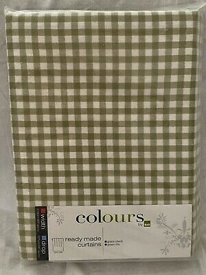 £32.50 • Buy Bnwt Gorgeous Pencil Pleat, Green Gingham Check Ready Made, Fully Lined Curtains