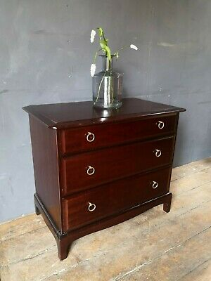 £125 • Buy Vintage Stag Minstrel Mahogany & Brass 3x Drawer Chest Of Drawers