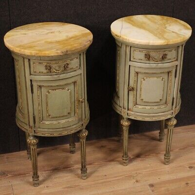 £2062.50 • Buy Pair Cylinder Bedside Tables Columns Marble Antique Style Louis XVI Furniture