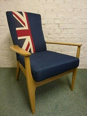 £150 • Buy Parker Knoll Chairs, Navy/Union Jack (3 Available) Smart/Punk/Man Cave/Teenager