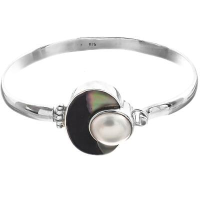 $49.95 • Buy 7  OPULENT WHITE MABE IN SHELL INSET 925 STERLING SILVER BANGLE CUFF Bracelet