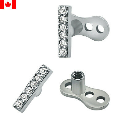 £5.67 • Buy  14g CZ Dermal Anchor Top And Base Surgical Steel Microdermal Skin Diver Jewelry