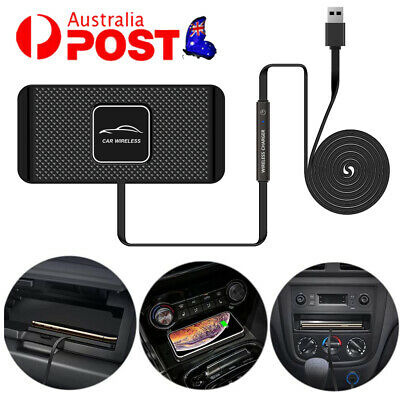 AU24.89 • Buy Qi Wireless Charger Car Pad Mat Phone Holder Mount Non-Slip Charging For Phone