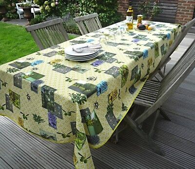 £22.70 • Buy Tablecloth Non-Iron 150x240 CM Green Olivenmotive From France Provence