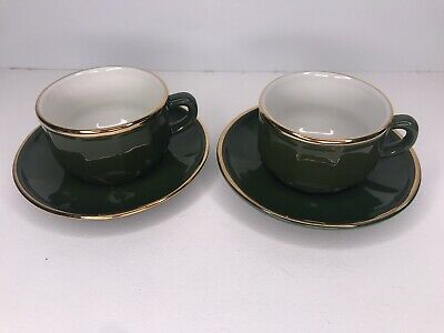 £14.99 • Buy Apilco Green French Bistro Pair X2 Coffee Cups & Saucers - NO # 5 & 6